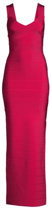 Herve Leger Sleeveless V-Neck Bandage Column Gown