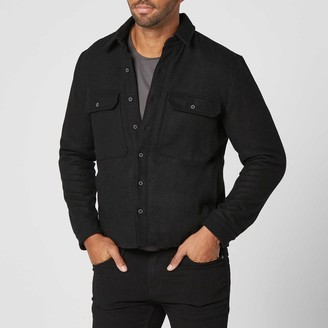 DSTLD Mens Sherpa Lined Shirt Jacket in Black