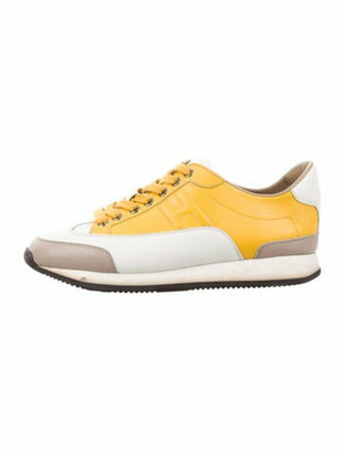 Hermes Leather Colorblock Pattern Sneakers White