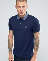 Lacoste Polo Shirt With Space Dye Collar In Navy Regular Fit