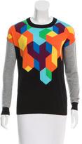 Tibi Patterned Crew Neck Sweater