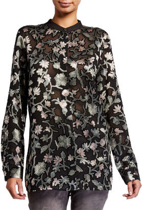 Lafayette 148 New York Brayden Long-Sleeve Button-Front Floral-Burnout Blouse