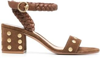 Gianvito Rossi Studded Block-Heel Sandals