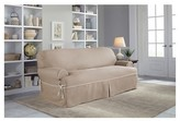 Serta Relaxed Fit Twill Furniture Cover T-Sofa - Taupe/Ivory