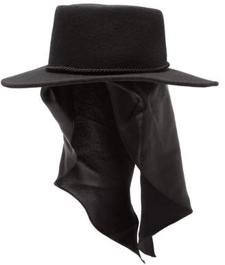 Lafayette House Of Satin-panel Fedora Hat - Womens - Black