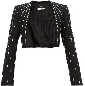 Givenchy Cropped Crystal-embellished Wool Jacket - Womens - Black