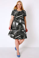 Yours Clothing Black & White Geo Print Swing Dress