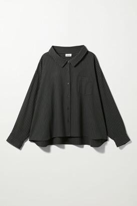 Weekday Rita Oversized Pinstripe Shirt - Blue