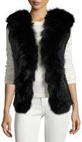 Adrienne Landau Fur-Front Shearling-Lined Vest, Black