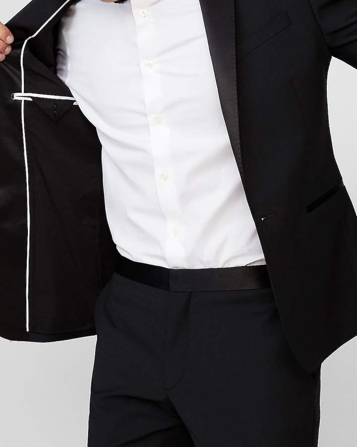 Express Extra Slim Black Wool-Blend Performance Tuxedo Jacket