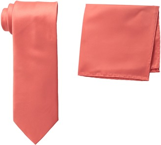 Stacy Adams Men's Tall-Plus-Size Satin Solid Tie Set Extra Long