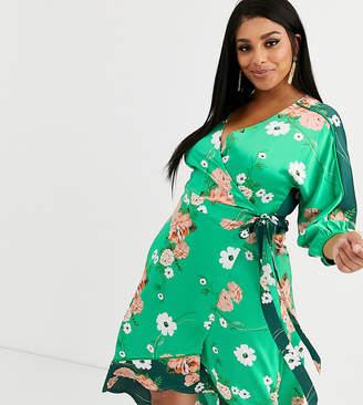 Liquorish Plus satin kimono midi dress in mixed green floral