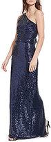 Lauren Ralph Lauren Sequined One-Shoulder Column Gown