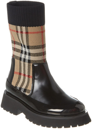 Burberry Vintage Check Knit Sock Leather Chelsea Boot