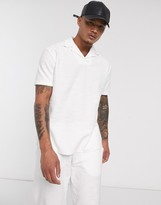 Asos Design ASOS DESIGN co-ord relaxed revere polo shirt in textured fabric in off white