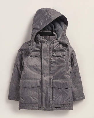 Calvin Klein Jeans Boys 4-7) Charcoal Heather Military Hooded Coat