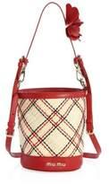 Miu Miu Plaid Straw Bucket Bag