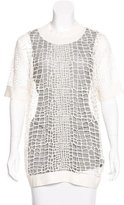 Robert Rodriguez Rib Knit-Trimmed Netted Tunic w/ Tags