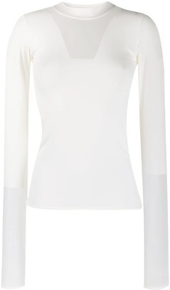 Courreges Sheer Panel Mock Neck Top