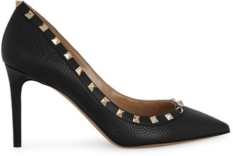 Valentino Garavani Rockstud 85 Black Leather Pumps