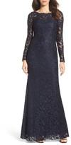 La Femme Women's Embellished Floral Lace Gown