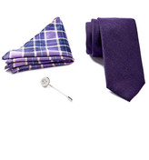 Ben Sherman Solid Tie, Plaid Pocket Square, & Lapel Pin Box Set