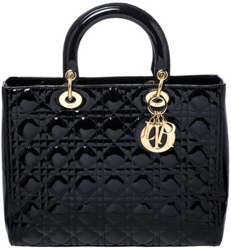 Christian Dior Black Cannage Patent Leather Large Lady Tote