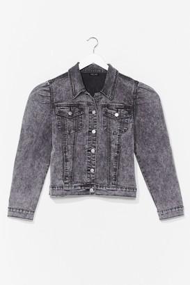 Nasty Gal Womens Puff Shoulder Denim Jacket - Grey