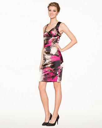 Le Château Abstract Print Satin Cocktail Dress