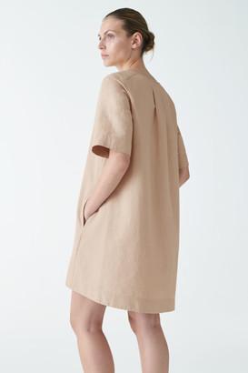 Cos Organic Cotton-Linen Mix A-Line Tie Dress