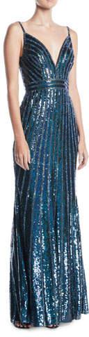 Jovani V-Neck Sleeveless Striped-Sequin Slip Evening Gown