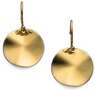 Ippolita Glamazon Sculptural Metal 18K Yellow Gold Mini Wavy Disc Drop Earrings