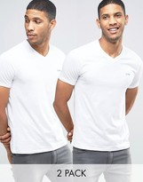 Armani Jeans T-Shirt With V Neck 2 Pack In White