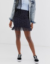 Daisy Street mini skirt with frill hem in vintage floral