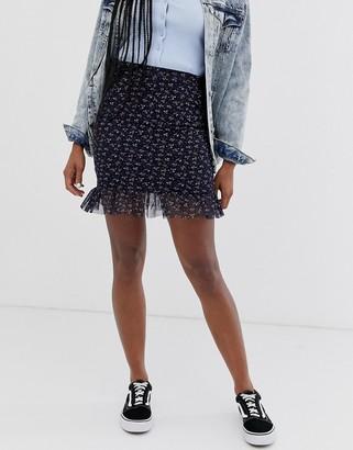 Daisy Street mini skirt with frill hem in vintage floral-Navy
