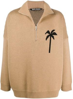 Palm Angels Pxp Zipped Turtleneck Sweater Camel Blac