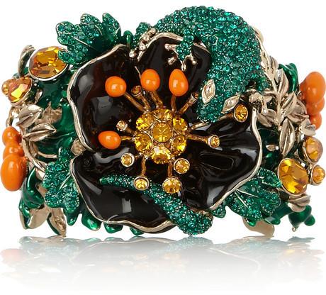 Roberto Cavalli Gold-plated Swarovski crystal cuff