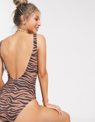 Monki recycled polyester tiger print scoop neck swimsuit in brown