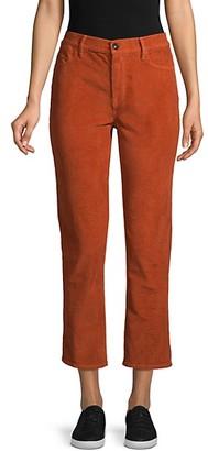 Frame High-Rise Corduroy Straight-Leg Ankle Pants