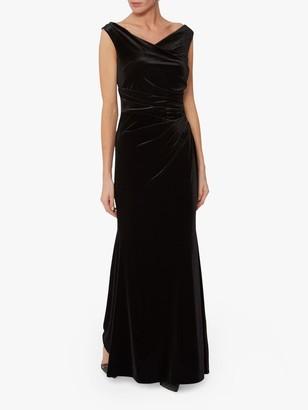 Gina Bacconi Ramona Ruche Detail Velvet Maxi Dress