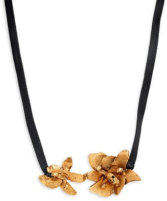 Valentino Bronze Plated Metal & Leather Necklace