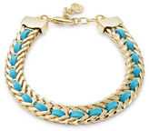 RJ Graziano Leather Woven Braided Goldtone Bracelet
