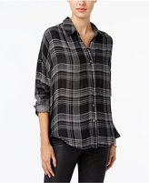 William Rast Aster Plaid High-Low Shirt