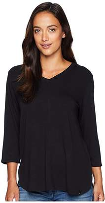 FDJ French Dressing Jeans Baby French Terry V-Neck 3/4 Sleeve Top (Black) Women's Clothing