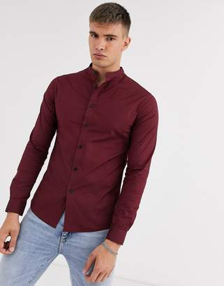 Asos Design DESIGN poplin skinny fit smart shirt in burgundy with grandad collar-Red