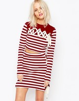 House of Holland Striped Crop Top with Tie Lacing