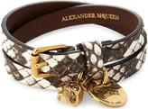 Alexander McQueen Jewelled skull double wrap goatskin bracelet
