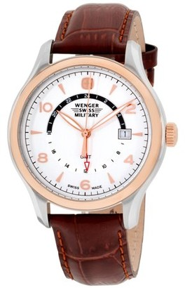Wenger Women's 43mm Brown Leather Band Steel Case Sapphire Crystal Swiss Quartz White Dial Watch 79306C