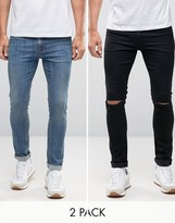 Asos Super Skinny Jeans 2 Pack In Black With Knee Rips & Mid Blue SAVE