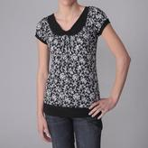 Journee Collection Women's Floral Print Stretch Knit Top